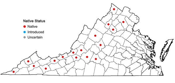 Locations ofAndreaea rothii F. Weber & D. Mohr in Virginia