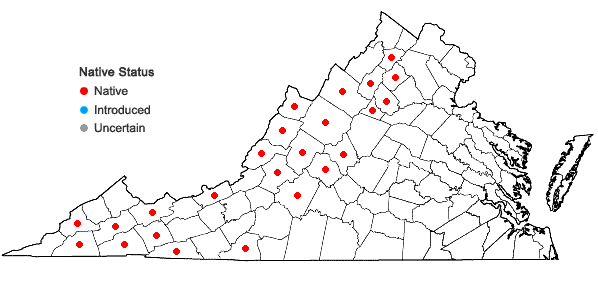Locations ofAngelica triquinata Michx. in Virginia