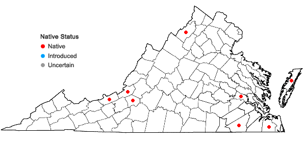 Locations ofAspiromitus punctatus (L.) Schljakov in Virginia