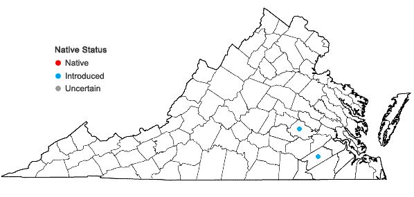Locations ofAzolla filiculoides Lam. in Virginia