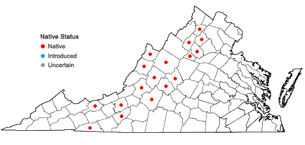 Locations ofCalamagrostis canadensis (Michx.) Beauv. var. canadensis in Virginia