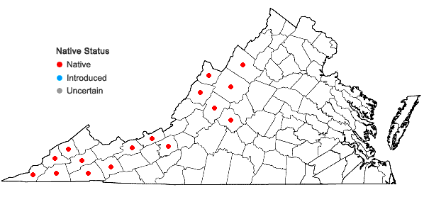 Locations ofCardamine diphylla (Michaux) A. Wood in Virginia