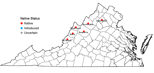 Locations ofCarex polymorpha Muhl. in Virginia