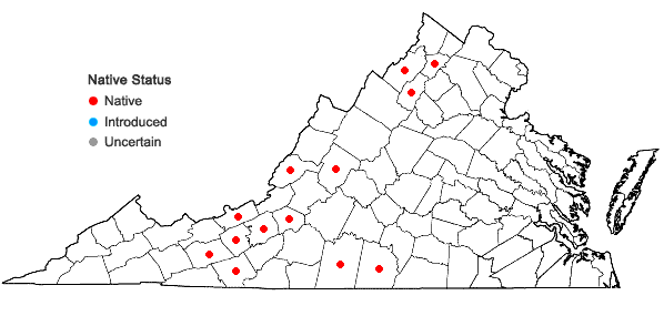 Locations ofCheilanthes eatonii Baker in Virginia