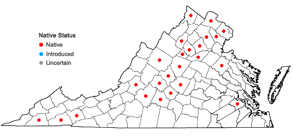 Locations ofCorallorhiza wisteriana Conrad in Virginia