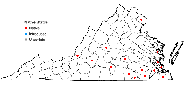 Locations ofCrataegus viridis L. in Virginia