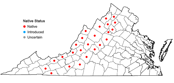 Locations ofDiervilla lonicera Miller in Virginia