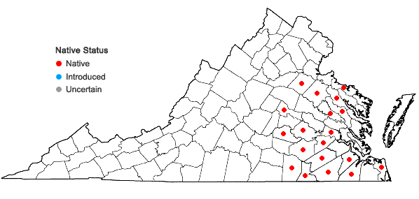 Locations ofDrosera capillaris Poir. in Virginia