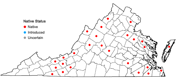 Locations ofDrosera rotundifolia L. in Virginia