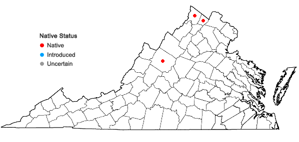 Locations ofEquisetum fluviatile L. in Virginia