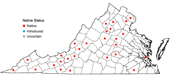 Locations ofFissidens bryoides Hedwig in Virginia