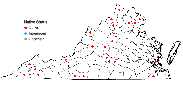 Locations ofFissidens osmundoides Hedwig in Virginia