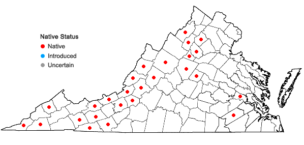 Locations ofFissidens subbasilaris Hedwig in Virginia