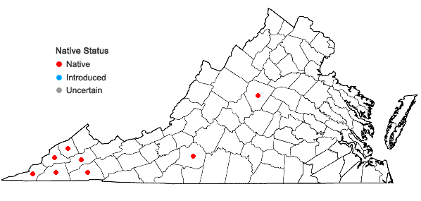 Locations ofFrangula caroliniana (Walter) A. Gray in Virginia