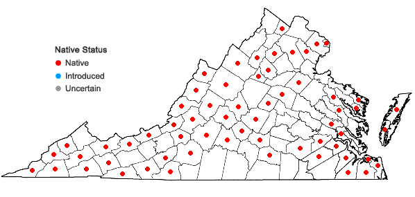 Locations ofFrullania asagrayana Montagne in Virginia