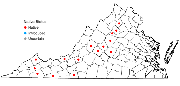 Locations ofFrullania plana Sullivant in Virginia