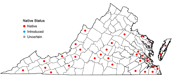 Locations ofFuscocephaloziopsis lunulifolia (Dumort.) Vana & Söderstr. in Virginia