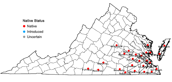 Locations ofGentiana catesbaei Walt. in Virginia