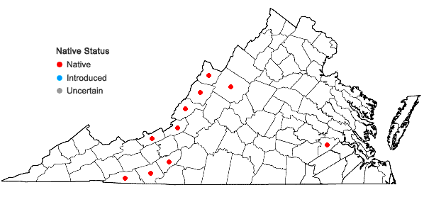 Locations ofGlyceria canadensis (Michx.) Trin. in Virginia