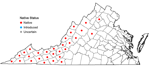 Locations ofHepatica acutiloba DC. in Virginia