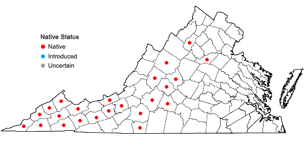 Locations ofHydrastis canadensis L. in Virginia
