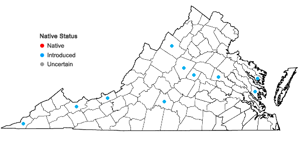 Locations ofLinum usitatissimum L. in Virginia