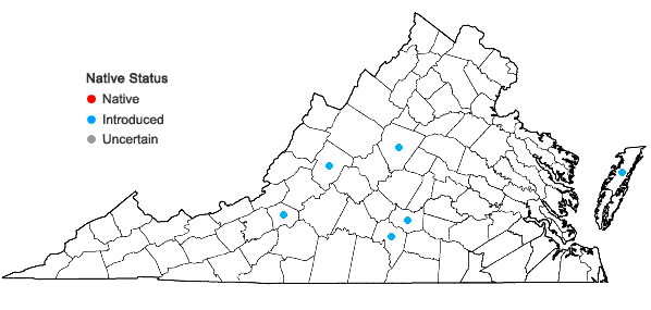 Locations ofLunularia cruciata (L.) Dumort. ex Lindb. in Virginia