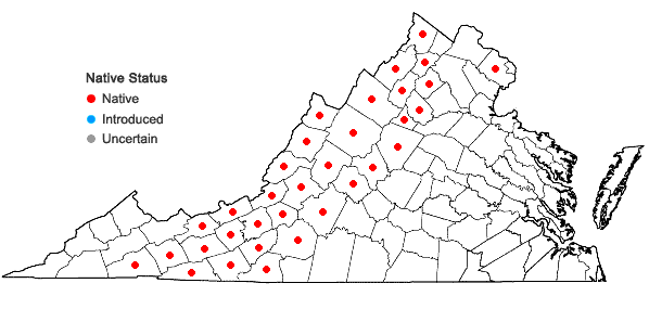 Locations ofMenziesia pilosa (Michx. ex Lam.) Juss. ex Pers. in Virginia