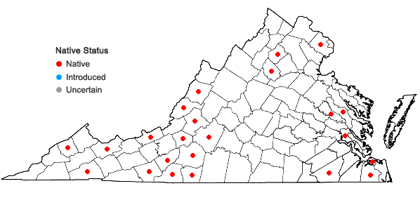 Locations ofMetzgeria furcata (L.) Corda in Virginia