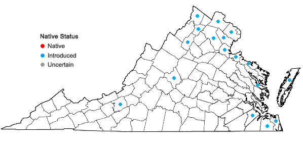 Locations ofMyriophyllum spicatum L. in Virginia