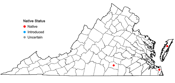 Locations ofNymphoides aquatica (J.F. Gmel.) Kuntze in Virginia