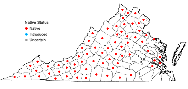 Locations ofPanax quinquefolius L. in Virginia