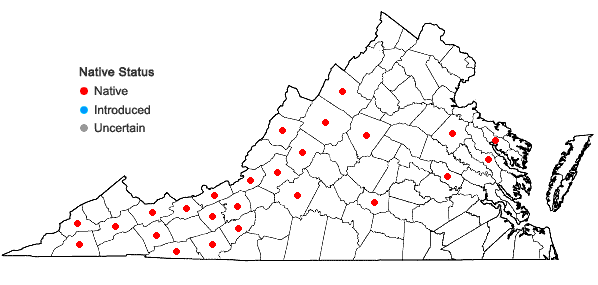 Locations ofParnassia asarifolia Vent. in Virginia