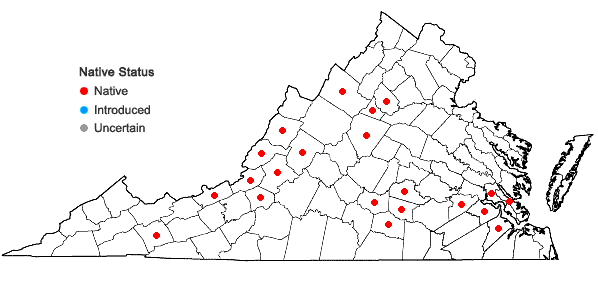 Locations ofPhilonotis marchica (Hedw.) Brid. in Virginia
