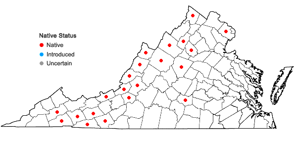 Locations ofPleurozium schreberi (Willd. ex Brid.) Mitt. in Virginia