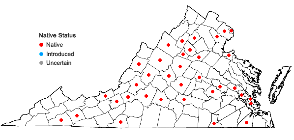 Locations ofPogonatum pensilvanicum (Hedw.) P. Beauv. in Virginia
