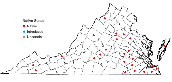 Locations ofPogonia ophioglossoides (L.) Ker-Gawl. in Virginia