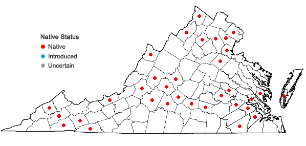 Locations ofPohlia nutans (Hedw.) Lindb. in Virginia