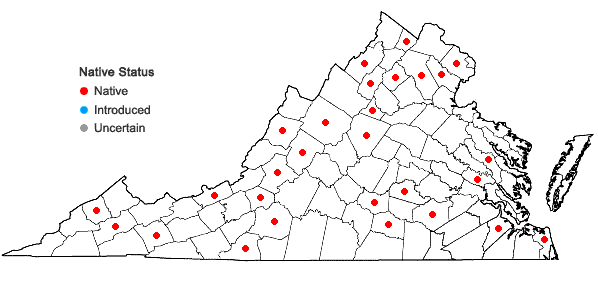 Locations ofPolytrichum juniperinum Hedwig in Virginia