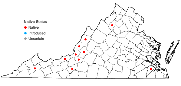 Locations ofPolytrichum piliferum Hedwig in Virginia