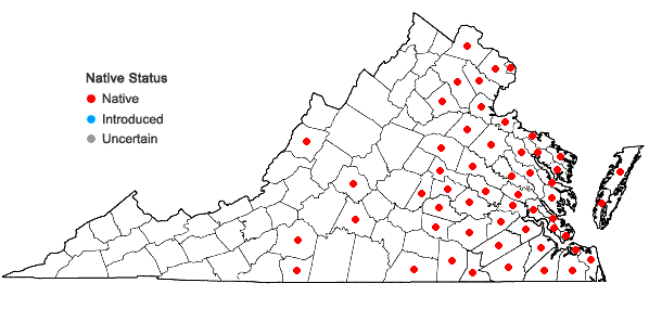 Locations ofPontederia cordata L. var. cordata in Virginia