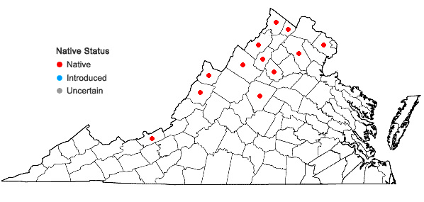 Locations ofPopulus tremuloides Michx. in Virginia