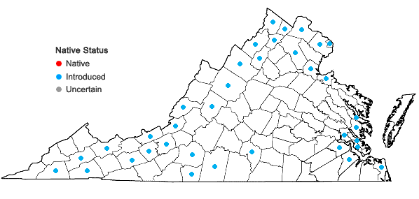 Locations ofPotamogeton crispus L. in Virginia