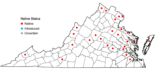 Locations ofPotamogeton epihydrus Raf. in Virginia