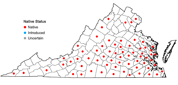 Locations ofPrunus angustifolia Marshall in Virginia