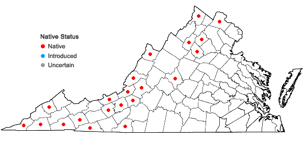 Locations ofRhabdoweisia crispata (Dicks. ex With.) Lindb. in Virginia