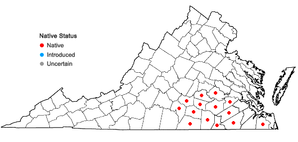 Locations ofSilphium compositum Michx. var. compositum in Virginia