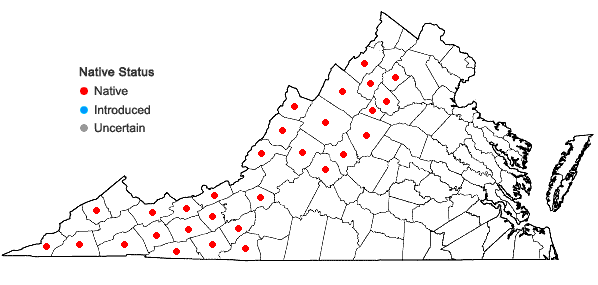 Locations ofSolidago roanensis Porter in Virginia