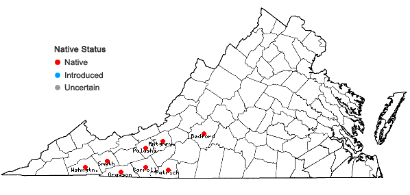 Locations ofStachys latidens Small ex Britt. in Virginia
