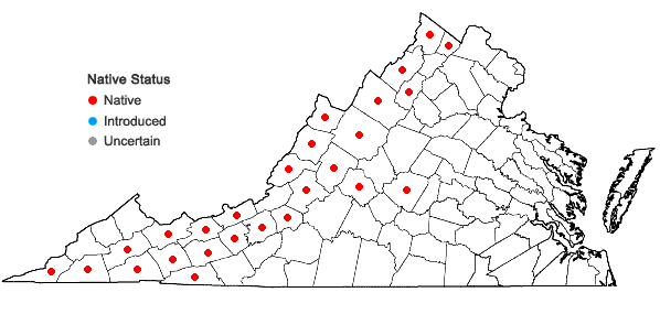 Locations ofThuja occidentalis L. in Virginia